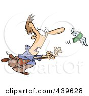 Royalty Free RF Clip Art Illustration Of A Cartoon Businessman Chasing An Elusive Flying Dollar