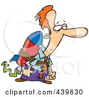 Royalty Free RF Clip Art Illustration Of A Cartoon Businessman Tied To A Rocket