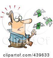 Royalty Free RF Clip Art Illustration Of Cartoon Dollars Flying Out Of A Mans Wallet by toonaday