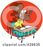 Royalty Free RF Clip Art Illustration Of A Cartoon Eager School Boy Raising His Hand
