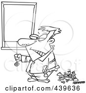 Royalty Free RF Clip Art Illustration Of A Cartoon Black And White Outline Design Of A Man Drawing His Shades After Being Woken Up By His Alarm Clock