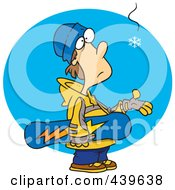 Royalty Free RF Clip Art Illustration Of A Cartoon Eager Snowboarder Waiting For Snow by toonaday