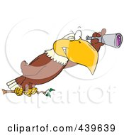 Royalty Free RF Clip Art Illustration Of A Cartoon Eagle Using A Telescope