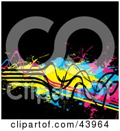 Clipart Illustration Of Grungy Blue Pink Yellow And Black Wires And Splatters On Black