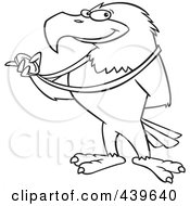 Royalty Free RF Clip Art Illustration Of A Cartoon Black And White Outline Design Of A Bald Eagle Holding A Medal