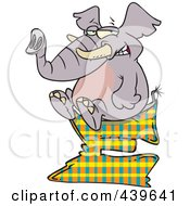 Royalty Free RF Clip Art Illustration Of A Cartoon Elephant Sitting On A Letter E by toonaday