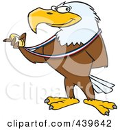 Royalty Free RF Clip Art Illustration Of A Cartoon Bald Eagle Holding A Medal