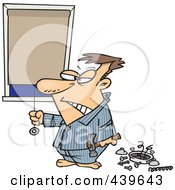 Royalty Free RF Clip Art Illustration Of A Cartoon Man Drawing His Shades After Being Woken Up By His Alarm Clock