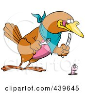Royalty Free RF Clip Art Illustration Of A Cartoon Big Bird Ready To Dine On A Worm