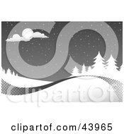 Clipart Illustration Of A Gray And White Christmas Snowy Night Scene With A Swoosh Along The Bottom