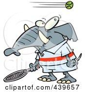 Royalty Free RF Clip Art Illustration Of A Cartoon Tennis Elephant by toonaday