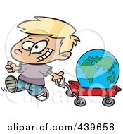 Cartoon Happy Boy Pulling The Globe In A Wagon