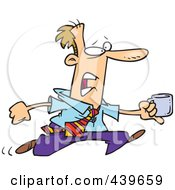 Royalty Free RF Clip Art Illustration Of A Cartoon Businessman Running With A Cup Of Coffee
