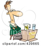Royalty Free RF Clip Art Illustration Of A Cartoon Businessman Trying To Sell Lemonade by toonaday