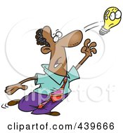 Royalty Free RF Clip Art Illustration Of A Cartoon Black Businessman Reaching For An Elusive Idea