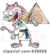 Cartoon Egyptian Cat Presenting A Pyramid