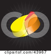 Yellow Orange And Red 3d Pie Chart On A Black Background