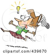 Royalty Free RF Clip Art Illustration Of A Cartoon Businesswoman Chasing An Elusive Idea With A Net by toonaday