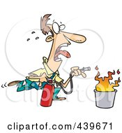 Royalty Free RF Clip Art Illustration Of A Cartoon Businessman Extinguishing A Fire by toonaday