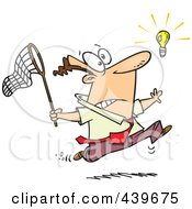Royalty Free RF Clip Art Illustration Of A Cartoon Businessman Chasing An Elusive Idea With A Net