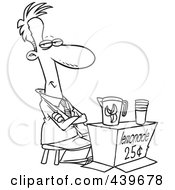 Royalty Free RF Clip Art Illustration Of A Cartoon Black And White Outline Design Of A Businessman Trying To Sell Lemonade