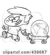 Royalty Free RF Clip Art Illustration Of A Cartoon Black And White Outline Design Of A Happy Boy Pulling The Globe In A Wagon by toonaday