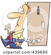 Royalty Free RF Clip Art Illustration Of A Cartoon Embarrassed Businessman With Toilet Paper Stuck To His Pants by toonaday