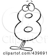 Royalty Free RF Clip Art Illustration Of A Cartoon Black And White Outline Design Of An Eight Character
