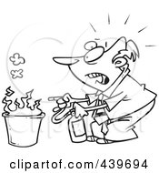 Cartoon Black And White Outline Design Of A Businessman Putting Out A Fire