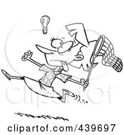 Royalty Free RF Clip Art Illustration Of A Cartoon Black And White Outline Design Of A Businesswoman Chasing An Elusive Idea With A Net