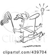 Royalty Free RF Clip Art Illustration Of A Cartoon Black And White Outline Design Of A Businessman Chasing An Elusive Idea With A Net