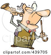Royalty Free RF Clip Art Illustration Of A Cartoon Old Man Holding A Trumpet Up To His Ear by toonaday #COLLC439705-0008