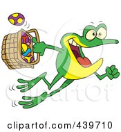 Royalty Free RF Clip Art Illustration Of A Cartoon Frog Hopping With A Basket Of Easter Eggs