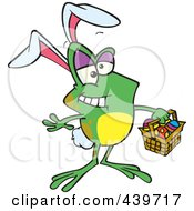 Royalty Free RF Clip Art Illustration Of A Cartoon Frog Wearing Bunny Ears And Carrying An Easter Basket