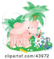 Clipart Illustration Of A Cute Pink Elephant And Gray Mouse Doing A Word Puzzle by Alex Bannykh