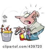 Cartoon Businessman Putting Out A Fire