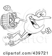 Royalty Free RF Clip Art Illustration Of A Cartoon Black And White Outline Design Of A Frog Hopping With A Basket Of Easter Eggs