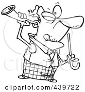 Royalty Free RF Clip Art Illustration Of A Cartoon Black And White Outline Design Of An Old Man Holding A Trumpet Up To His Ear