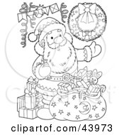 Clipart Illustration Of A Black And White Santa Claus With Toys And A Sack Coloring Page