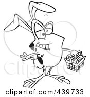 Royalty Free RF Clip Art Illustration Of A Cartoon Black And White Outline Design Of A Frog Wearing Bunny Ears And Carrying An Easter Basket