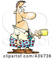 Royalty Free RF Clip Art Illustration Of A Cartoon Businessman In Boxers Holding A Cup Of Coffee by toonaday