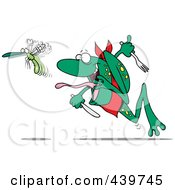 Cartoon Frog Chasing A Bug With A Fork And Knife