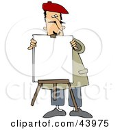 Clipart Illustration Of A Male Portrait Artist Setting Up A Blank Canvas On An Easel
