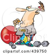 Royalty Free RF Clip Art Illustration Of A Cartoon Man Bingeing Instead Of Exercising