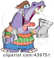 Royalty Free RF Clip Art Illustration Of A Cartoon Newsie Hippo by toonaday