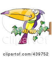 Cartoon Exotic Toucan Perched On A Branch