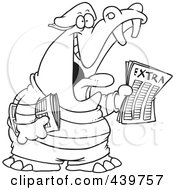 Royalty Free RF Clip Art Illustration Of A Cartoon Black And White Outline Design Of A Newsie Hippo