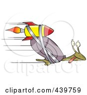 Royalty Free RF Clip Art Illustration Of A Cartoon Rocket Strapped Onto An Express Mail Snail by toonaday