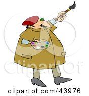 Clipart Illustration Of A Chubby Male Mural Artist Painting A Wall And Holding A Palette by djart