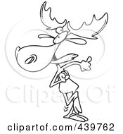 Royalty Free RF Clip Art Illustration Of A Cartoon Black And White Outline Design Of A Happy Dancing Moose by toonaday